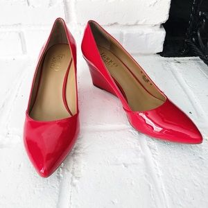 Red Pointed Toe Franco Sarto Wedge Heels